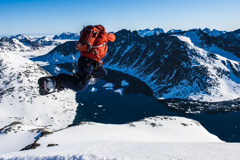 Rob Kingwill gets rad high above an icy fjord in Greenland. Photo: Mike Arts
