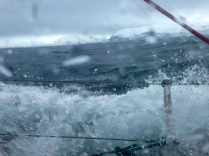 Icy waves crash over the deck towards the cabin windows.Photo: Rachel Eden Reich