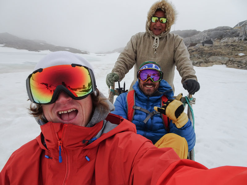 """The Greenlandic word to command sled dogs to run is """"YO!"""" Rob and Seth felt like they were filming a sled dog hip-hop video, with their guide Gideon yelling, """"YO YO YO YO!"""" the whole ride.Photo: Rob Kingwill"""