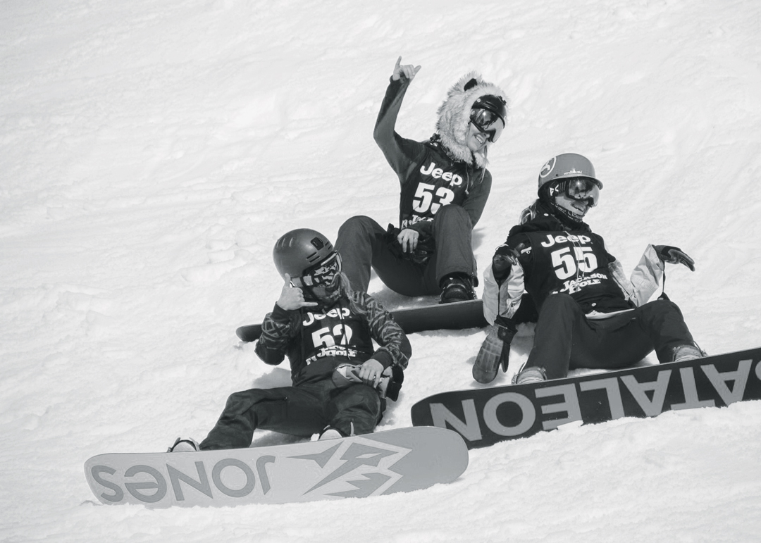 Snowboarding. 18-19 JHSM. Riders Halina Boyd, Kelly Halpin, and Nikki Lee after their runs through Dick's Ditch. Photo: Ryan Dee.