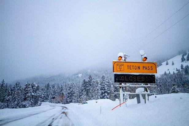 Teton Pass closure sign.